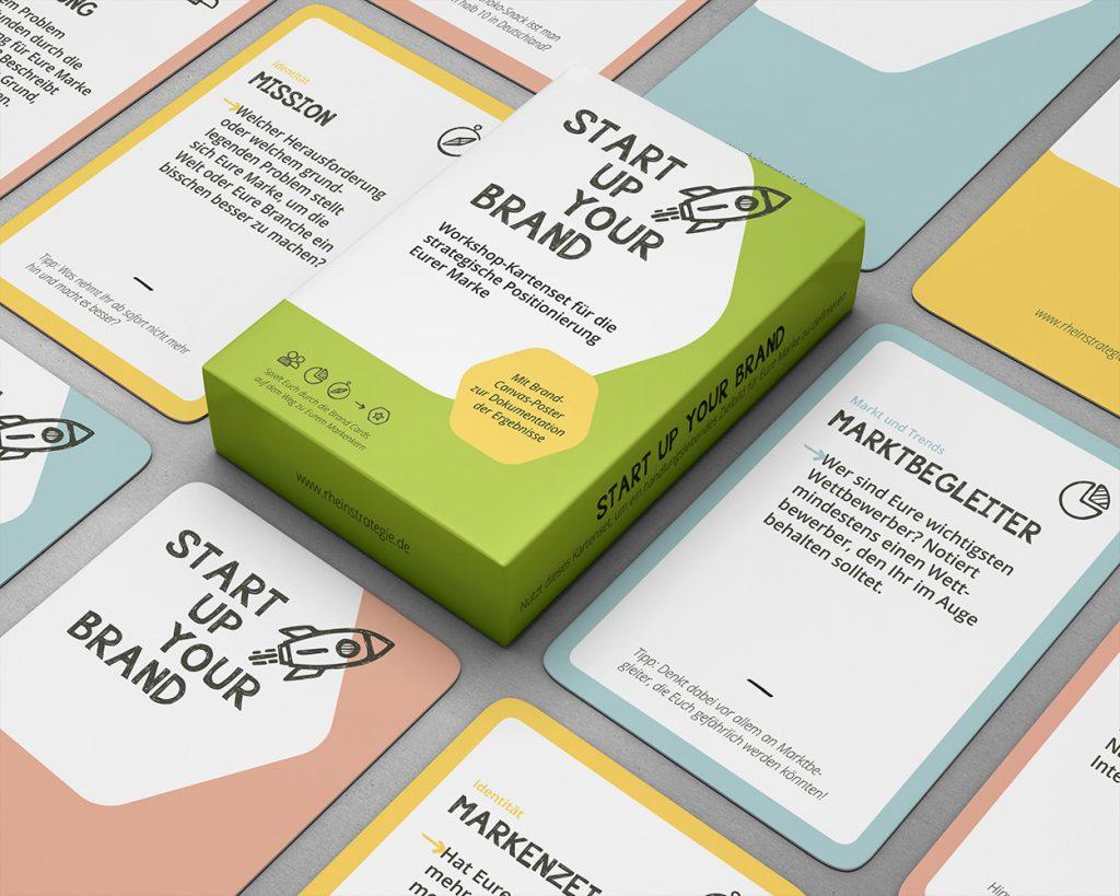Ein Mockup der Produktverpackung und ausgewählter Karten